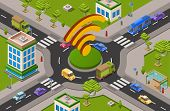 Smart City Transport And Wifi Technology Isometric 3d Vector Illustration Of Urban Traffic Crossroad poster