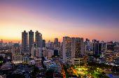 View Of Bangkok Modern Office Buildings, Condominium In Bangkok City Downtown With Sunset Sky ,bangk poster