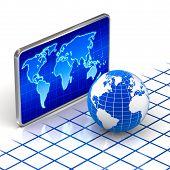 World globe and digital world map concept