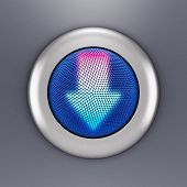 3D illustration of a steel button which glowing arrow symbol