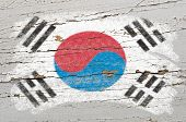 Flag Of South Korea On Grunge Wooden Texture Painted With Chalk