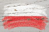 Flag Of Poland On Grunge Wooden Texture Painted With Chalk