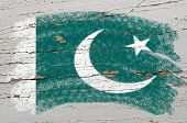 Flag Of Pakistan On Grunge Wooden Texture Painted With Chalk