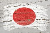 Flag Of Japan On Grunge Wooden Texture Painted With Chalk