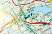 Vejle. Kongeriget Danmark. A Paper Map And Roads On The Map. poster