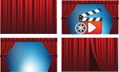 cinema, theatre or show red curtains in different positions including open and shut, uses gradient mesh.