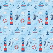 Nautical Kid Pattern With Lighthouse, Boat, Star, Anchor, Float. A Playful, Modern, And Flexible Pat poster