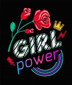 Girls Power Slogan Print Embroidery T-shirt. Feminist Slogan, Rock Print. Fashionable Slogan With Ro poster