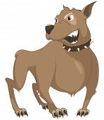 Cartoon Character Sly Dog Isolated on White Background. Vector.