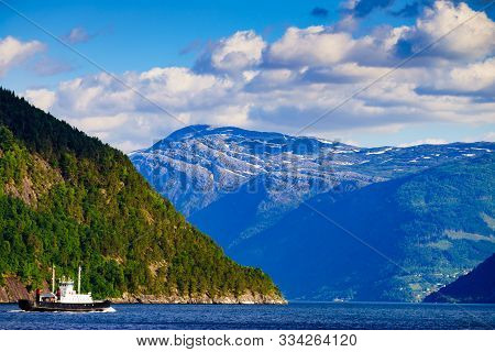 poster of Fjord Landscape With Ferry Boat In Norway, Scandinavia Europe. Tourism Vacation And Cruising.