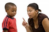 picture of repentance  - Mother rebuking her child on white background - JPG