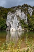 Danube River At Danube Breakthrough Near Kelheim, Bavaria, Germany In Autumn With Limestone Rock For poster
