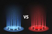 Vs. Versus Battle Glowing Podiums For Fighters Matching, Blue And Red Circular Glow. Mma And Boxing  poster