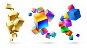 Abstract Cubes Compositions. Golden Geometric Shapes, Colorful Cubic 3d Composition And Bright Color poster