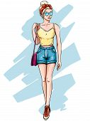 Blonde Girl In Fashionable Clothes. Hand Drawn Young Woman With Blond Hair In Sunglasses, Fashion Su poster
