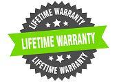Lifetime Warranty Sign. Lifetime Warranty Green-black Circular Band Label poster
