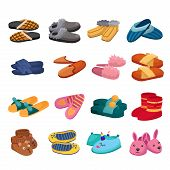 House Slipper Cartoon Vector Set Icon. Isolated Cartoon Icon Slipper And Shoes.vector Illustration S poster