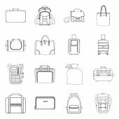 Vector Design Of Suitcase And Baggage Sign. Collection Of Suitcase And Journey Stock Symbol For Web. poster