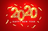 2020 Colorful Text Isolated On Red Background, Text 2020, New Year 2020, 2020 Text Gold For Calendar poster