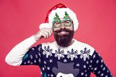 Ho-ho-ho. Happy Santa Twirl Long Mustache Hair. Bearded Man Smile With Stylish Mustache. Beard And M poster
