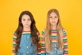 Kids Sworn Friends. Rivalry Concept. Small Sisters Trendy Hairstyle. Hair Strengthening. Natural Bea poster