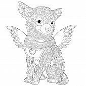 Coloring Page. Coloring Book. Colouring Picture With Lovely Chihuahua Dog. Line Art Sketch Design Wi poster