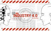 Industry 4.0 Concept Banner. Physical Systems Concept, Robot And Man Are Looking At Each Other. Auto poster