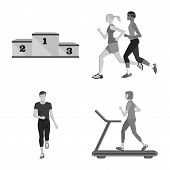 Vector Illustration Of Success And Marathon Icon. Collection Of Success And Winner Stock Symbol For  poster