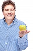 Chubby Man Holding Apple