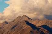 Storm over alpinre tundra mountain ridges