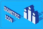 Isometric Ranking Star Icon Isolated On Blue Background. Star Rating System. Favorite, Best Rating,  poster