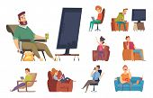 Sedentary Characters. Lazy Lifestyle People Sitting Reading Chatting In Smartphone Watching Tv Unhea poster