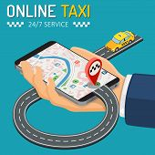 Online Taxi Isometric Concept. Hand With Smartphone, Taxi Car, Road And Route Pin. Online Taxi 24h S poster