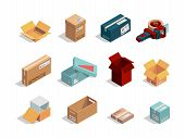 Boxes Isometric. Cardboard Packages Open And Closed Container Shipping Cartons Vector Box Collection poster