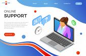 Online Isometric Customer Support Concept. Mobile Call Center With Female Consultant, Headset, Lapto poster