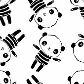 Hand Drawn Cute Panda Bear Seamless For Textile. Pattern Vector Stock. Childish Design Print For Nur poster