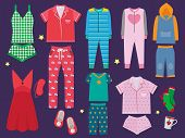 Pajamas Set. Sleeping Clothes Collection For Children And Adults Sleepwear Textile Vector Colored Ca poster