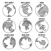 Earth Globe Doodle. Planet Sketched Map America India Africa Continents Vector Hand Drawn Illustrati poster