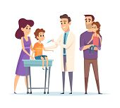 Family Doctor. Pediatrician, Vaccination Vector Illustration. Happy Family And Doctor Characters. Ki poster