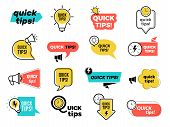 Quick Tips Badges. Graphic Stickers Ideas Reminders Quickly Thinks Solutions Learning Logos Vector C poster