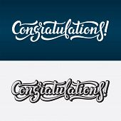 Congratulations Lettering Vector Text. Calligraphic Banner With Greeting Inscription poster