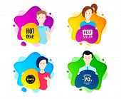 Hot Deal. People Shape Offer Badge. Special Offer Price Sign. Advertising Discounts Symbol. Dynamic  poster