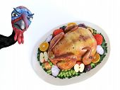 3d Rendering Of A Silly Cartoon Turkey Looking Angry When He Sees A Roasted Turkey On A Thanksgiving poster