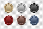 Vector 3d Realistic Vintage Retro Stamp Wax Seal Icon Set Closeup Isolated On Transparent Background poster