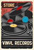 Vinyl Records Store, Vector Vintage Retro Poster, Music Instruments And Dj Musical Equipment Store.  poster