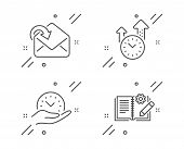 Safe Time, Time Management And Receive Mail Line Icons Set. Engineering Documentation Sign. Manageme poster