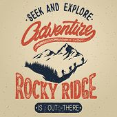 Vector Vintage Hand Draw Logotype With Calligraphy Elements. Adventure Poster. Distressed Effect poster