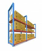 Storage Racks With Boxes.
