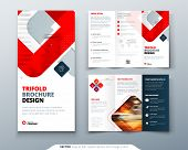 Tri Fold Brochure Design With Square Shapes, Corporate Business Template For Tri Fold Flyer. Creativ poster