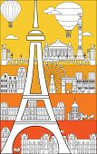 Poster With Landmarks Of Paris, Vertical Vector Monochrome Illustration In Line Art Style On Bright  poster